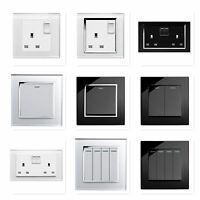 RetroTouch Black White Glass Rocker Light Switches + Plug Sockets Single Double