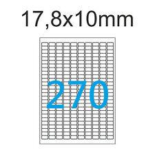 1350 Etiketten 17,8x10 mm Weiß MaySpies Premium Aufkleber 17x10 mm 5 Blatt A4