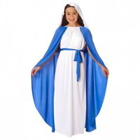 Girls Virgin Mary Religious Christmas Fancy Dress Costume Kids Nativity Outfit