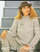 "999 Ladies Aran Coat sonesize 58.5/"" Vintage Knitting Pattern"