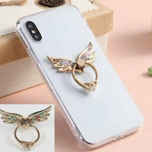 Universal 360 Finger Ring Stand Holder For Cell Phone - CRYSTAL ANGEL WINGS