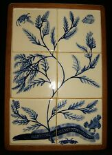 "RARE Vintage Underwater Sea Fish Tile Mosaic Framed In Wood Eel Crab 4"" Tiles"