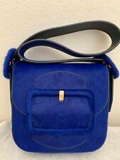 NWT!! Tory Burch Mini Sawyer Genuine Calf Hair Shoulder Bag $495 BLUE DAHLIA