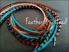 Feather Hair Extensions - 16 Piece - Coral - Brown - Turquoise - Sante Fe - Long