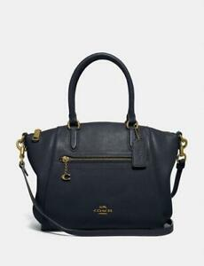 ❤️ Coach Elise Midnight Navy/Gold Polished Pebble Leather Small Satchel