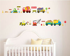 Home Removable Wall Sticker Boy Kids Room Trucks Cars Crane Toy Play Decor Decal