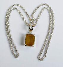 Yellow Sapphire Gemstone Emerald Cut 925 Sterling Silver Pendant Chain