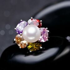 FENNEY 100% natural Pearl rings,Perfect round Natural Freshwater Pearl