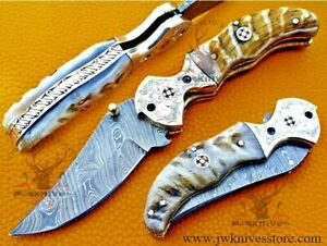 Folding Knife, Pocket Knife Damascus Folding Knife Ram horn Handle Camping Knife