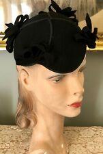 Vintage 1940's Black Wool Felt Hat Cap W/ Black Felt Bows