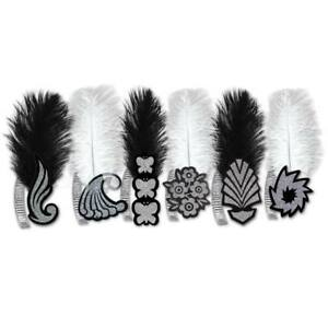 Black & White Roaring 20's Feather Tiara Paper Sold Individually Style is Random