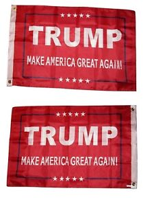 """12x18 President Trump Make America Great Red NYLON Double Sided 12""""x18"""" Flag"""