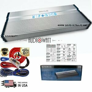 HIFONICS BXX4000.1D BRUTUS 4000W 1-OHM STABLE ULTRA-FI MOSFET 1-CH AMP + AMP KIT