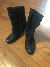 Nicole ladies ankle Zip Up boots size 8 M leather black high heel