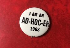 AFL-CIO IUDTW PIN BUTTON BADGE I AM AN AD-HOC-ER 1968. Scarce !!