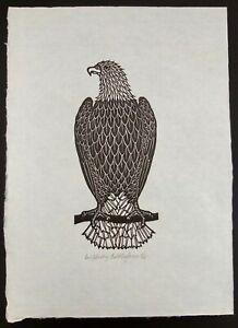 "Jacques Hnizdovsky Woodcut ""Bald Eagle"" Signed Dated & Numbered 14.5"" X 10.75"""