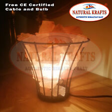 Himalayan Salt Lamp Iron Basket flower Shape With Natural Chunks,free cable&bulb