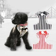 Puppy Dog Pet Bowknot Harness Vest Canvas Mesh Stripes Walk Traction Lead Leash