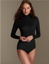Ladies Famous Make Black Long Sleeved Polo Neck Thermal Body. Sizes 10-18.