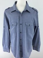 Banana Republic Mens XL Gray & Blue Long Sleeve Button Front L-02