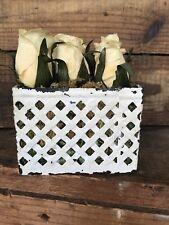 Vtg Decorative 9 Craft White Roses In Tin Planter