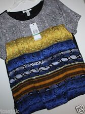 Kenneth Cole New York NWT Women Polyester T Blouse Tunic Blue Brown Black $98