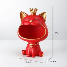 Vide-poche chat rouge doré couronne porte-bonheur Sculpture statue rangement