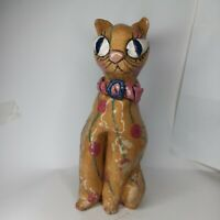 "Vintage Art Deco Cat figurine pottery  12"" big eyes  yellow hand painted"