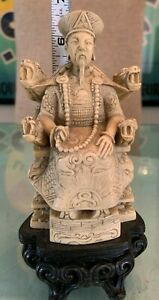 """Vintage carved Chinese Emperor statuette (detailed etching)-approx 6.5""""x 3"""""""