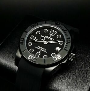 CUSTOM BUILT DIVERS WATCH STEALTH MOD SEIKO NH36 Automatic SAPPHIRE CRYSTAL