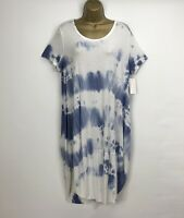 Italian Midi Dress Tie Dye Blue  Ladies Lagenlook Summer Holiday Size 12 14 16