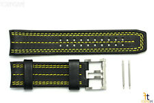 Luminox 1138 Tony Kanaan 26mm Leather Black / Yellow Watch Band Strap 1130