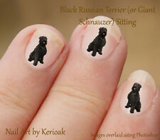 Giant Schnauzer, Black Russian Terrier Sitting, Dog Nail Art Stickers Decals