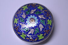 VINTAGE STERLING SILVER ENAMEL LARGE 1 7/8 INCH DIAMETER PILL BOX