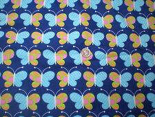 Green Polka Dot & Blue Stripe Butterflies on Royal Blue Flannel Fabric