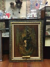 Stunning  American Oil on Board Painting of a Young Man w Golden Helmet