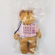 "Avon Breast Cancer Crusade Pink Ribbon Teddy Bear Beanie Stuffed 2001 New 7"""