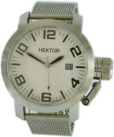 HEKTOR U Germany XL Herrenuhr Quarz Schutz Krone Milanaise Uhrband 45mm 10ATM