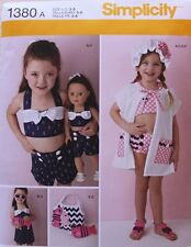 "SWIM SUIT*SHORTS*TOP/ 18"" DOLL SUIT Simplicity Pattern 1380 Size Child/Girls 3-8"