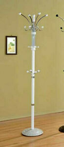 """WHITE Finished Wood & Metal Coat Rack - Easy Assembly - Weighted Base - 74"""" Tall"""