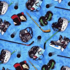 Ice Hockey Gear Sports Blue Quilt Sew Fabric ELIZABETH'S STUDIO