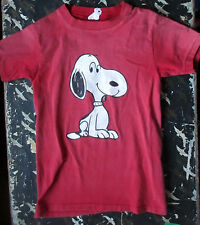 "SMALL 6-8 True Vtg 70s  Girls RED ALL COTTON ""HEATHER"" Snoopy Graphic T-SHIRT"