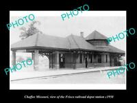 OLD LARGE HISTORIC PHOTO OF CHAFFEE MISSOURI, THE FRISCO RAILROAD DEPOT c1950