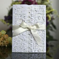 Invitation Card Wedding Party Flora Laser Cut With Ribbon Envelopes Folding Type