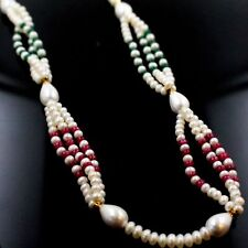 NATURAL RUBY PEARLS EMERALD 18 INCH GOLD NECKLACE CHAIN BEAUTIFUL STRUNG CHAIN