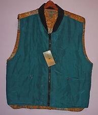 NWT Robert Stock Silk Cardigan Vest Fly Fishing L