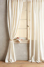 "NEW ANTHROPOLOGIE IVORY LINEN TIE TOP CURTAIN WINDOW PANEL 50"" X 96"""