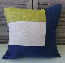 Xavier blocked colours navy beige lime cushion cover