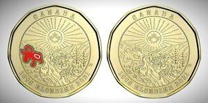 Canada 2021 125th Ann. of the Klondike Gold Rush Colour & Plain Loonie Set!!