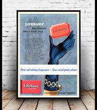 Lifebuoy ,  Vintage Soap advert  poster reproduction.